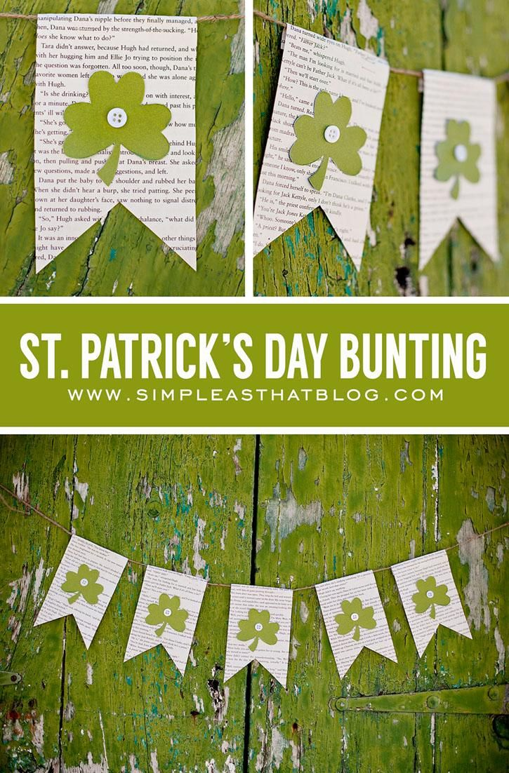 Try this easy DIY to get in the St Patty's Day spirit. All you need are old book pages, green cardstock, buttons and string!