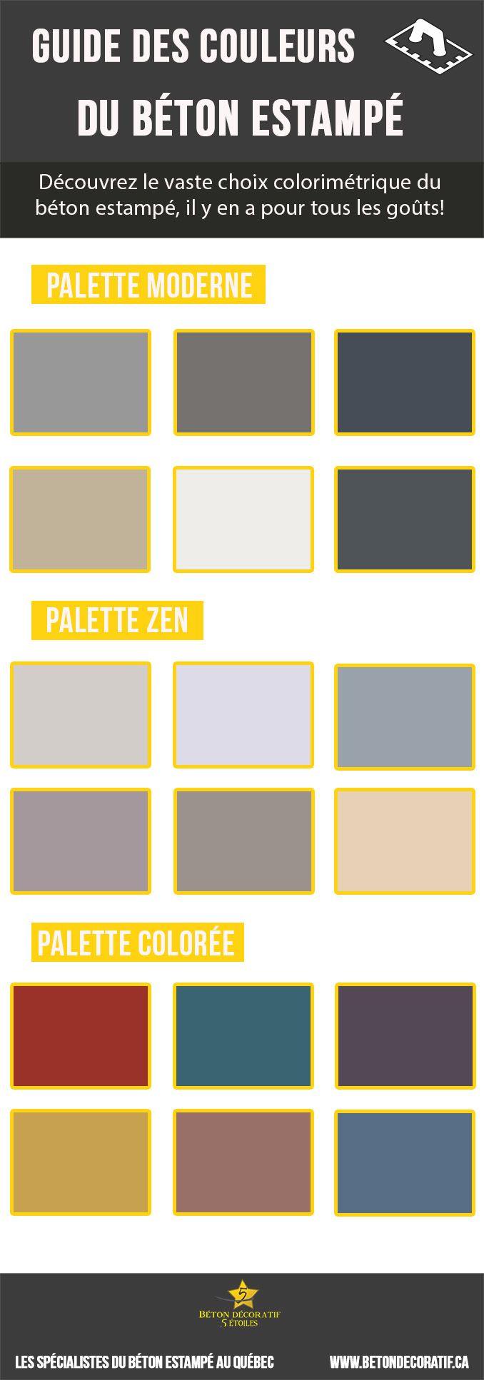 Guide des couleurs du béton estampé Le béton estampé est un procédé qui offre un vaste choix colorimétrique. Des tonalités plus sobres, en passant par les plus classiques jusqu'aux plus éclatées, à vous de choisir les couleurs qui feront vibrer votre aménagement.