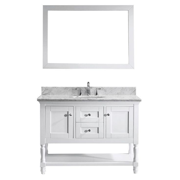 "Virtu USA Julianna 48"" Single Round Sink White Top Vanity in White with Mirror"