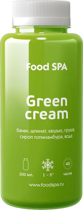 Green Cream – банан, шпинат, кешью, груша, сироп топинамбура, вода Вкусный, ароматный и невероятно полезный смузи, богатый минералами, витаминами А, К, С и антиоксидантами улучшает пищеварение