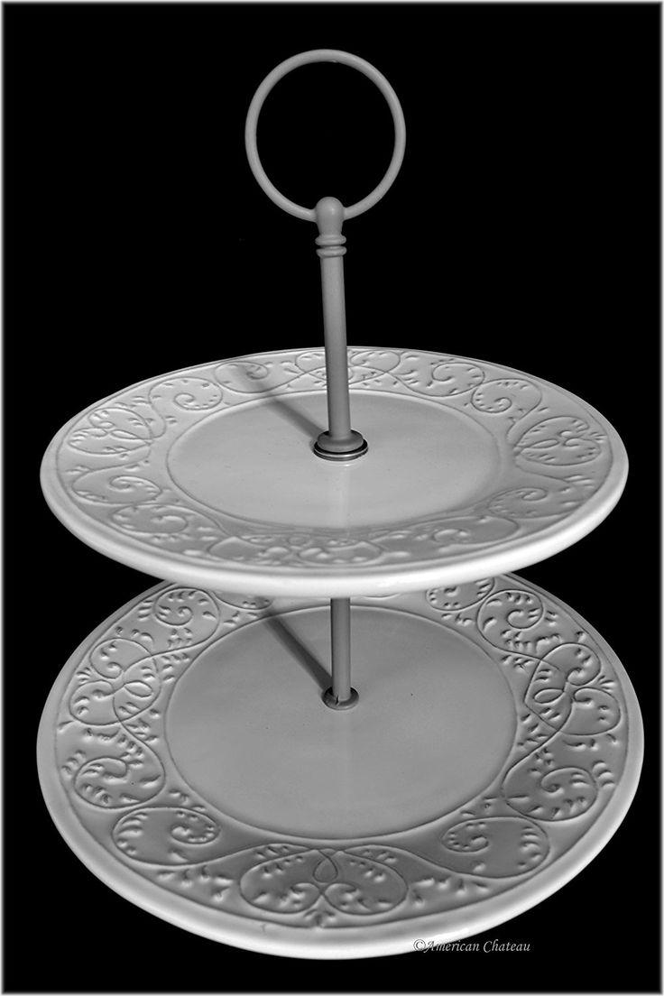 9 round 2tier serving rustic embossed ceramic dessert