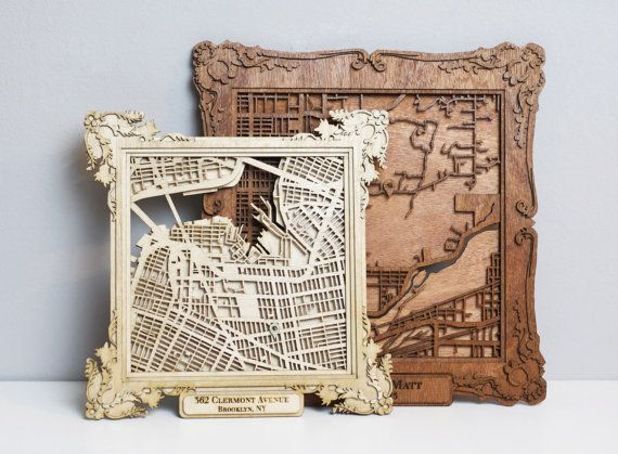 "CUSTOM Laser Cut Wood Map with Personalized Frame- 10"" Very Cool gift for someone going back to school or moving, Or starting a new life together!"