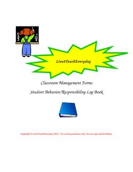 This is a great additon to your Classroom Management Plan. This packet includes the binder cover page insert which can be printed on regular copy paper, colored card stock or colored copy paper if you prefer color coding, a Student Behavior Log page, and a Student Responsibility Log page.