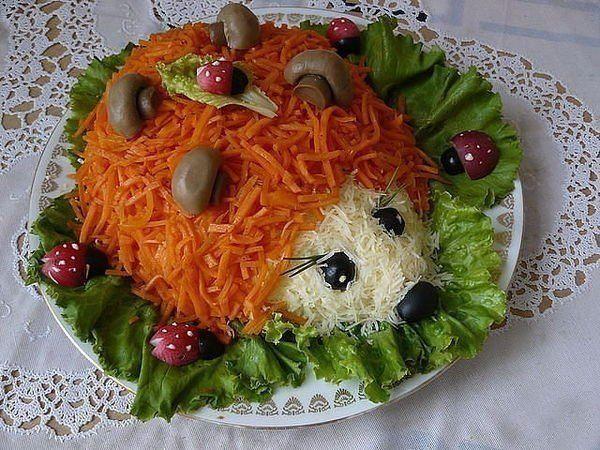 SALAD Hedgehog with Korean carrot #recipes #cooking #food #chiken #salads