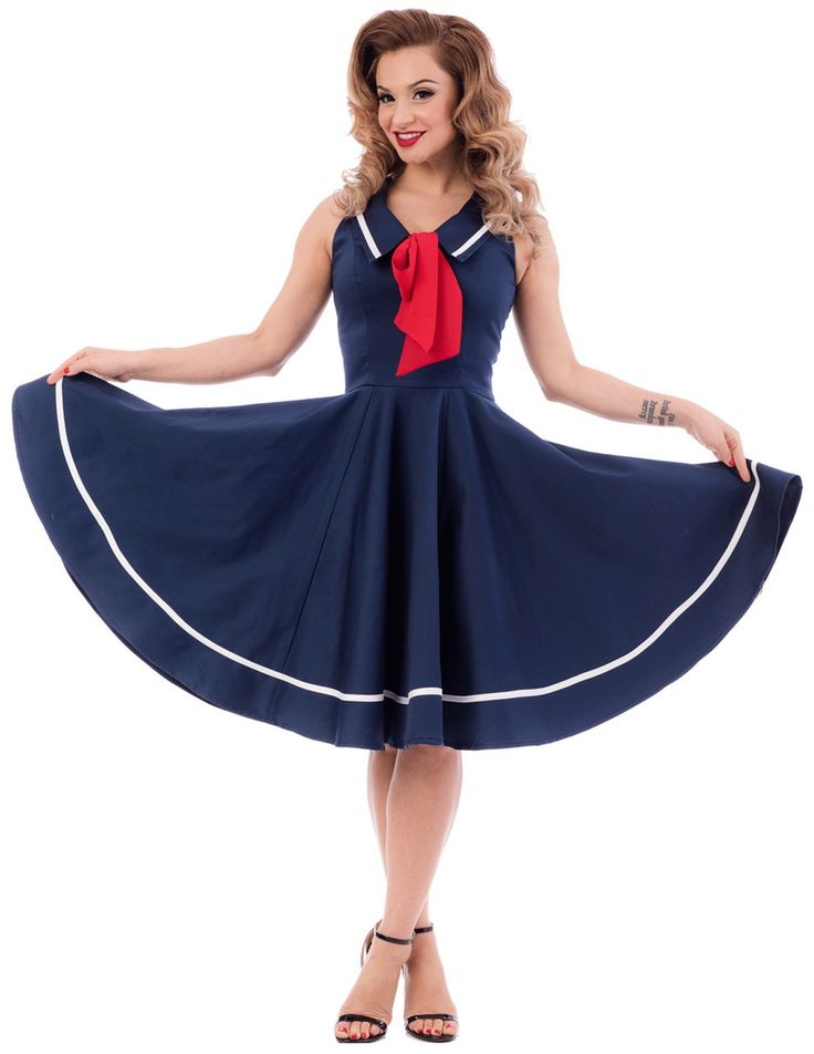 Keep it sweet, keep it classy and playful with the Sweet Sails Swing Dress! This 50's nautical style circle dress is made of a luxe quality fabric with a slight stretch on it in a classy navy with ivory trimmings. Typical marine style detail like the wide collar with a v-neck which is finished off with a contrasting red chiffon bow. The sleeveless top is fitted and ends in a full circle skirt and can be worn with a petticoats underneath or by itself. Perfect for every season, now you can ...