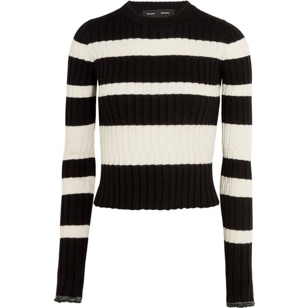 Proenza Schouler Striped wool, silk and cashmere-blend sweater (€400) ❤ liked on Polyvore featuring tops, sweaters, white long sleeve sweater, long sleeve tops, white sweaters, white long sleeve top and striped sweater