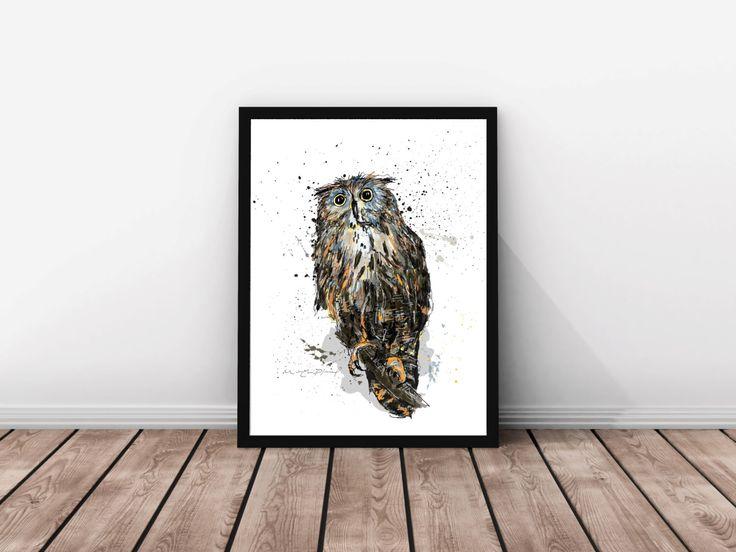 Affiche hibou grands formats illustration hibou chouette brun bleu - Affiches decoration interieure ...