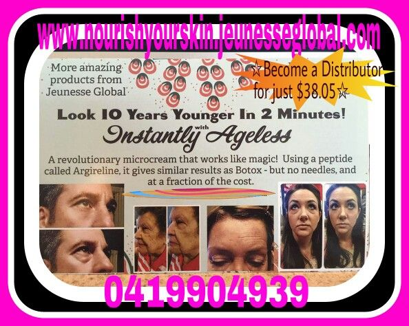 Look 10 years younger in just 2 minutes.  Ask me about becoming a Distributor for just $38.05 www.nourishyourskin.jeunesseglobal.com
