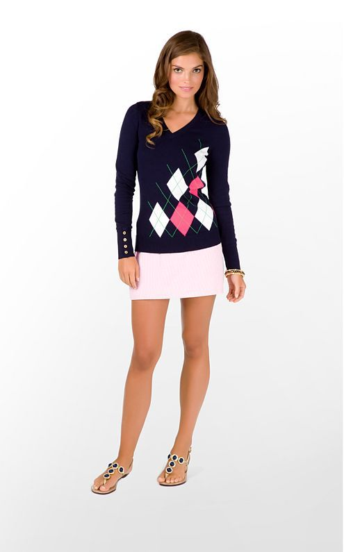 Golf-inspired look that works for off course as well as on (assuming your club has done away with skirt length rules!): Preppy Style, Lilly Pulitzer, Skirts, Preppy Seersucker, Seersucker Skirt, Entire Outfit, Argyle Sweater, Country Club Outfit