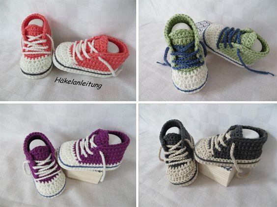 Häkelanleitung - Baby-Turnschuhe https://www.crazypatterns.net/de/items/13609/haekelanleitung-baby-turnschuhe-chucks-2