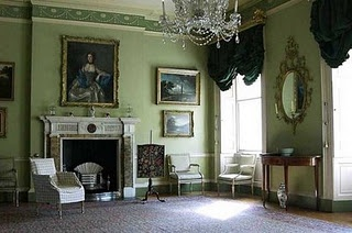 Known as Federal style which was popular from about 1780 until 1820. This neo classically based style had already become very popular in England where it was known as Georgian style in honor of the British monarchs. Federal style is about symmetry and balance. Oval and circular rooms were popular. Pastel colors such as soft greens, yellows and blues were favored, as well as deep sapphire and crimson. Upholstery and drapes were generally made of silk and the damask pattern was quite popular.