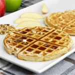 Apple Cinnamon Waffles - From the American Waffles Breakfast Recipe Collection. You can also try adding different fruits and spices instead of apple and cinnamon.  For toppings, maple syrup is great, as is apple sauce and a dollop of whipping cream.