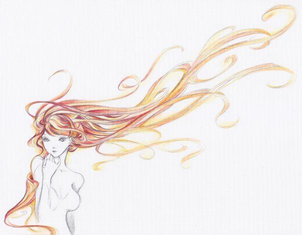 long hair drawing ideas