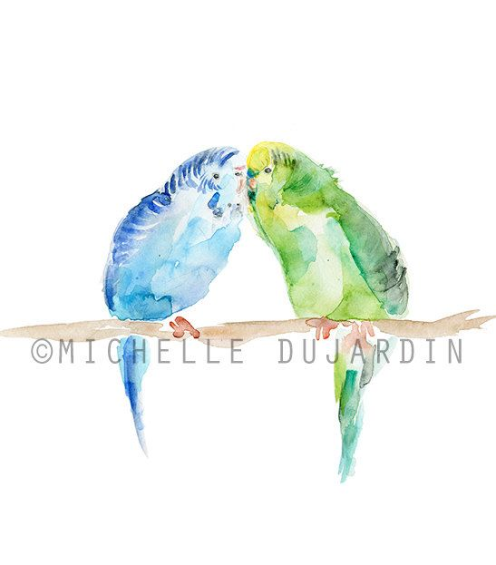 Original parakeet in love painting      Painting can be vacuum glued on sturdy cardboard if you wish. It enables you to hang it directly on the wall