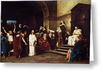 Christian Greeting Cards - Christ Before Pilate Greeting Card by Mihaly Munkacsy