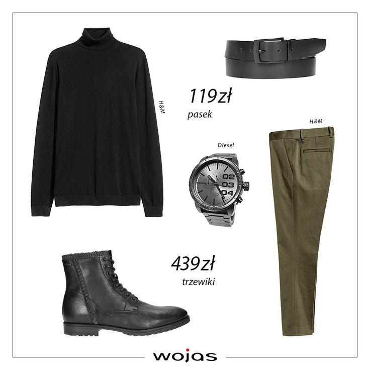 Golf męski to uniwersalny krój swetra, który pasuje do stylizacji o różnym stopniu elegancji. Spodnie garniturowe świetnie komponują się z czarnym, dopasowanym golfem. Trzewiki Wojas (https://wojas.pl/produkt/26241/trzewiki-meskie-6221-51 ),  pasek (https://wojas.pl/produkt/26349/paski-meskie-6969-51 ) oraz zegarek to uzupełnienie modnego zestawu.