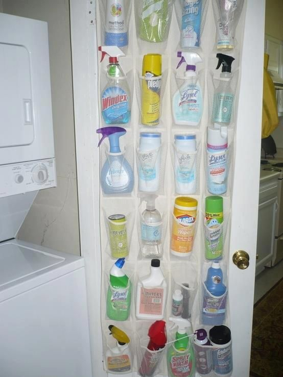 Use a Shoe Organizer to Store Cleaning Supplies, also works for bathroom supplies like shampoo, conditioner, body wash, etc.