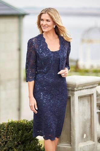 Navy Blue Short Knee Length Lace Mother Of The Bride Dresses Evening Wear 3/4 Sleeves Jacket Plus Size Wedding Guests Dress $93