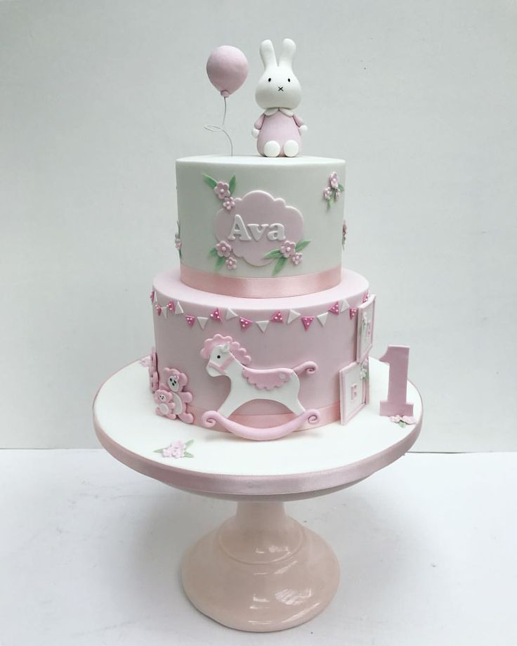 Miffy! Pink bunny cake for little girls first birthday by Sweet Bea's Bakery