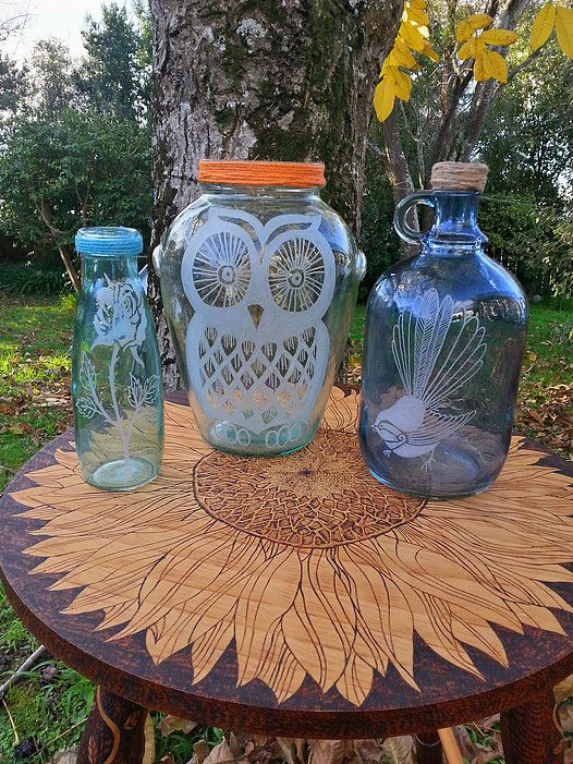 Burnt Offerings Wood, Glass and Stone Art