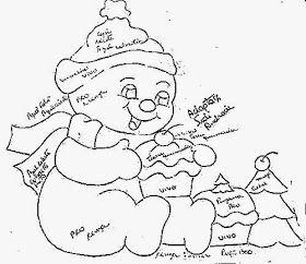 desenho de boneco de neve com cupcakes para pintar