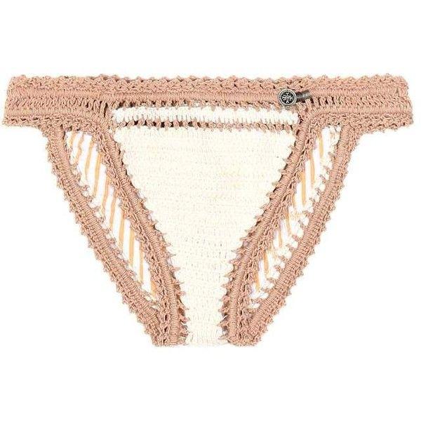 She Made Me Sana Crocheted Bikini Bottoms ($110) ❤ liked on Polyvore featuring swimwear, bikinis, bikini bottoms, beachwear, beige, bikini swim wear, macrame swimwear, she made me swimwear, bikini swimwear and beige bikini