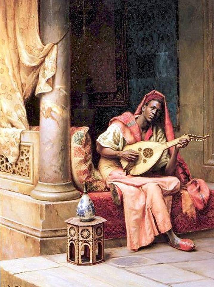 The Musician By Ludwig Deutsch - Austrian , 1855 - 1935 Oil on panel