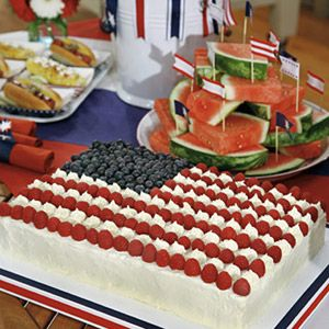 Flag Sheet CakeA cake fit for the most patriotic of parties, this flag sheet-cake creation sports a festive decoration of cream-cheese frosting, blueberries, and raspberries.