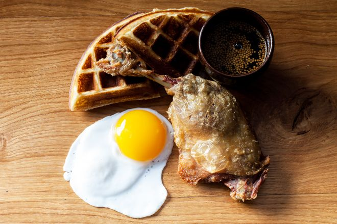 #Decadent duck - confit leg, waffle and egg!