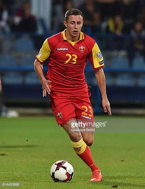 Adam Marusic of Montenegro in action during the FIFA 2018 World Cup Qualifier between Montenegro and Kazakhstan at Podgorica City Stadium on October...