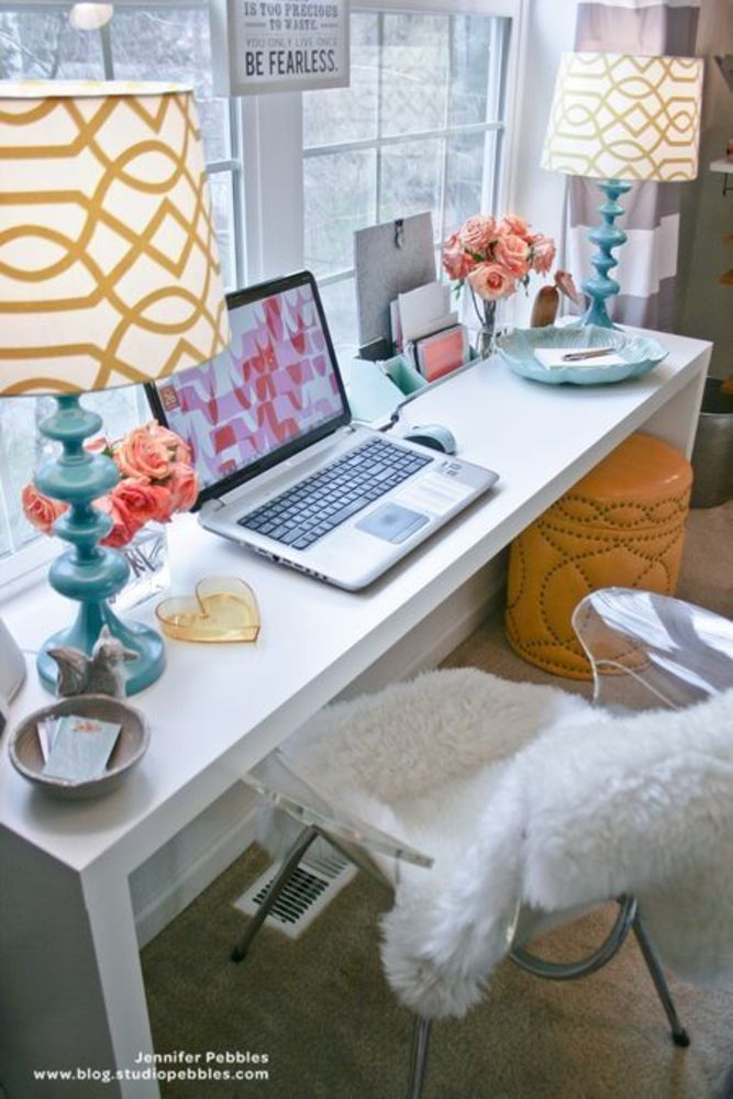 Pops of color desk idea.  Lucite chair with fur throw.
