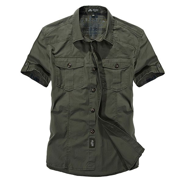 AFSJEEP Outdoor Cotton Breathable Multi Pockets Cargo Short Sleeve Work Shirt for Men