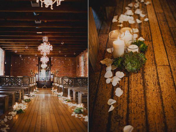 indoor evening ceremony - photo by Sloan Photographers - http://ruffledblog.com/glam-carondelet-house-wedding/