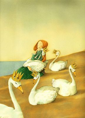 "Germano Ovani illustration for ""The Wild Swans""."