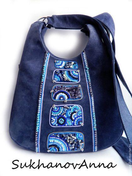 """Сумка """"Восточный деним"""" - тёмно-синий,сумка замшевая,сумка заплечная,сумка повседневная"""