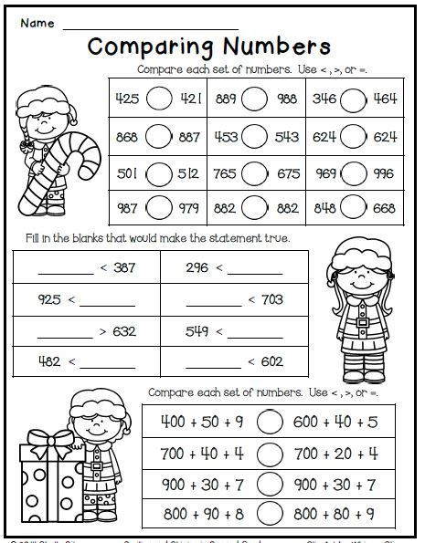 christmas math worksheet freebie for second grade comparing numbers pinterest christmas. Black Bedroom Furniture Sets. Home Design Ideas