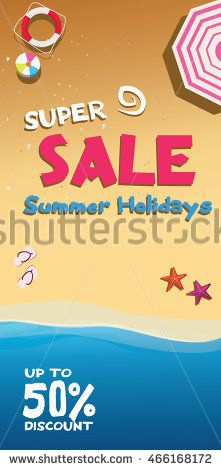 Summer super sale holidays poster with beach attribute, up to 50%…
