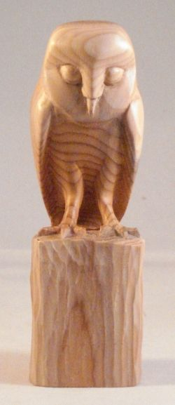 Ralph Williams Wood Carving: Barn Owl on a Fence Post carved in English Yew.