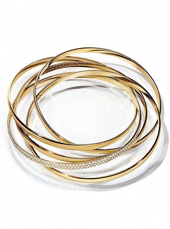 50be390e5 Paloma's Melody five-band bangle in 18k gold with diamonds. #tiffanyjewelry