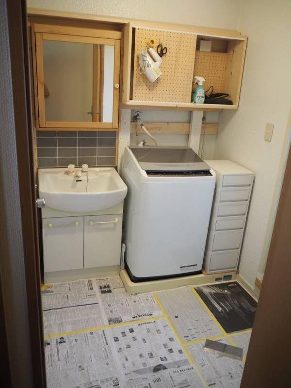 賃貸の洗面所diy クッションフロアを敷きました リノベーション