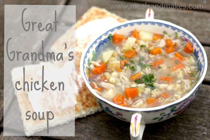 Homely and filling chicken soup with lots of veggies.