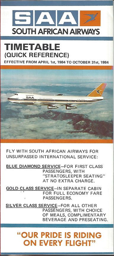 South African Airways Timetable