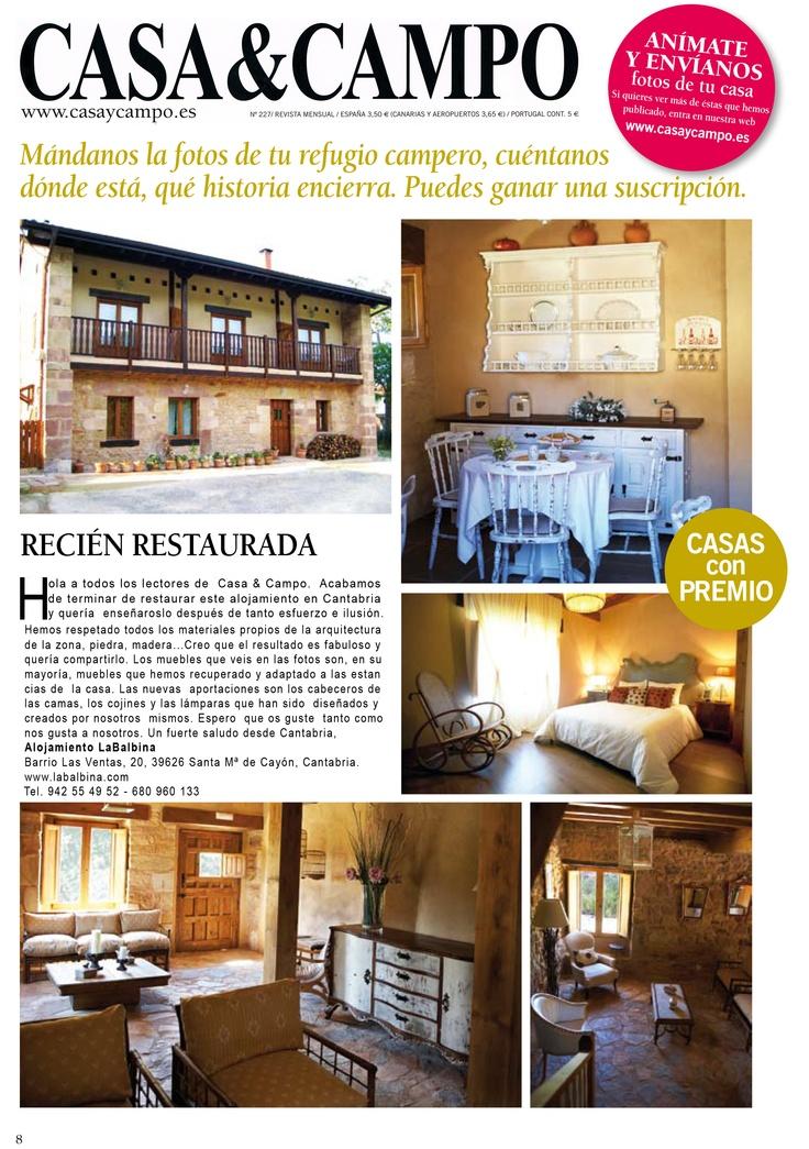 La revista CASA & CAMPO nos ha sacado en su sección casas con premio.