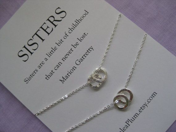 A set of 2 necklaces for the love between sisters! Sister jewelry // Sister necklace // Two sisters   $83.00  AzaleaPlum.etsy.com