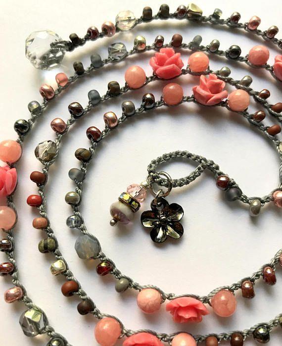 Pink rose crochet wrap bracelet / necklace summer jewelry