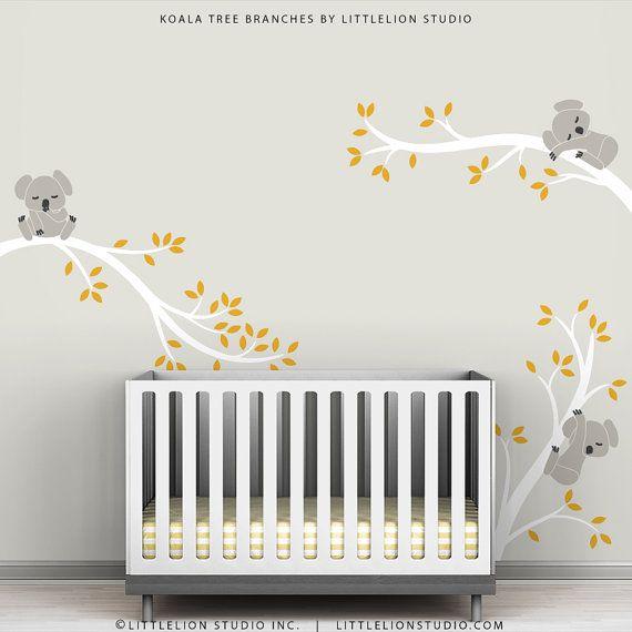Kids Wall Decals Gray White and Dark Yellow Baby by TheKoalaStore, $79.00