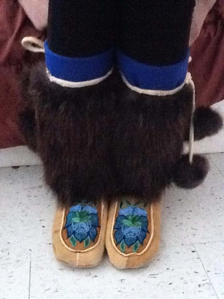 Inuit beaver fur w/ beaded leather kamiks by Natasha Olifie