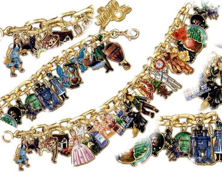 Wizard Of Oz Ultimate Charm Bracelet: Engraved Wizard Of Oz Jewelry - details