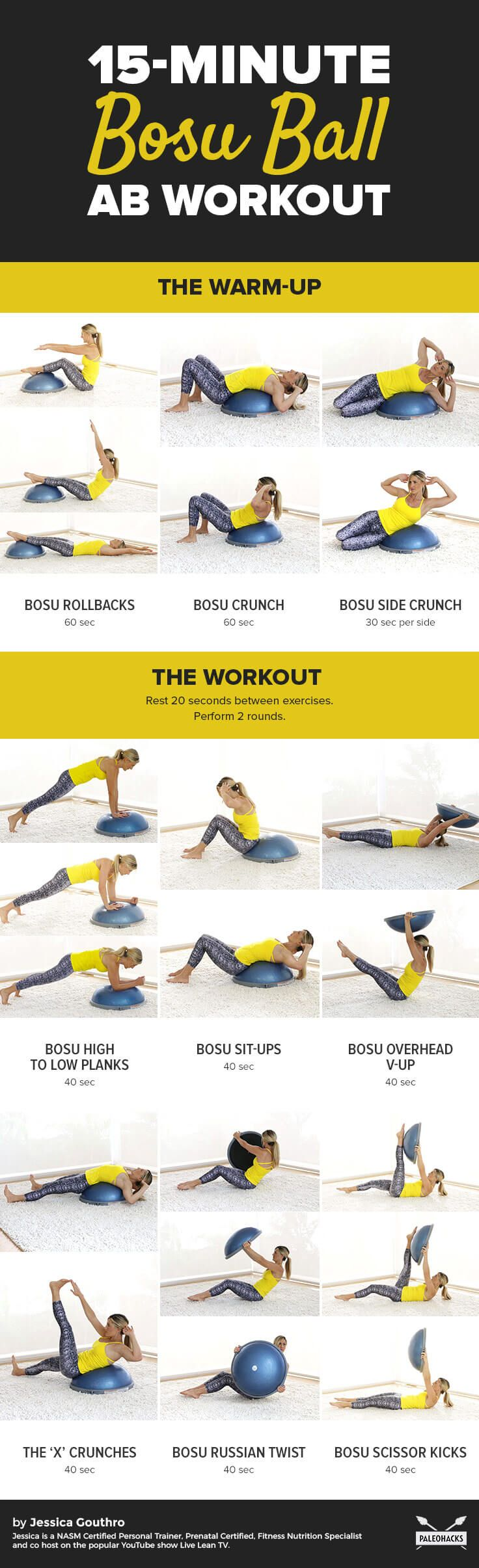 This bosu ball ab workout tightens and tones your abs from every angle. Do this workout anywhere—from the gym or the comfort of your home! Get the full workout here: http://paleo.co/bosuballworkout