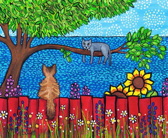 Wee Zorro and Lady Grey, 2 cats, print, Shelagh Duffett